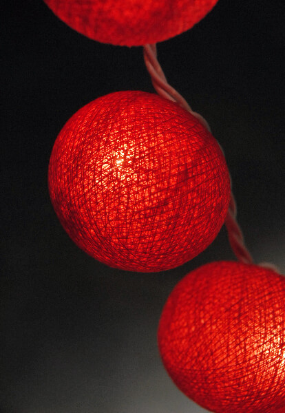 String Lights Red : Red Cotton Ball String Lights 20CT 8 Ft