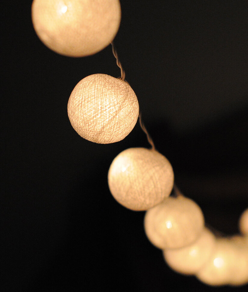 String Of Lantern Lights : Cotton Ball String Lights