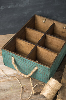 Six Slot Wood Wine Bottle Crate with Rope Handles