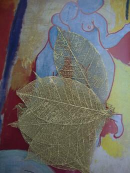 """Gold Metallic 3-3.5"""" Skeleton Leaves   (pkg/10 leaves)"""