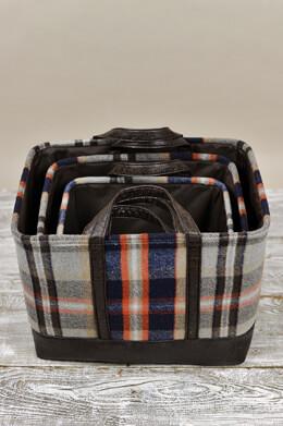 """Set of Three Plaid Flannel Ski Lodge Baskets 12,14 & 17"""""""