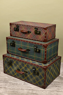 3 Ski Lodge Trunks Plaid Multicolor