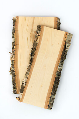Birch Wood Planks with Bark 12in
