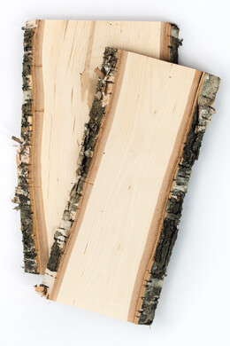 Birch Wood Planks with Bark 5x12