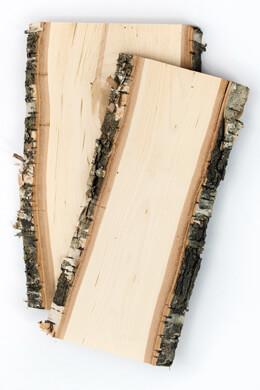 Birch Wood Planks with Bark 5x12