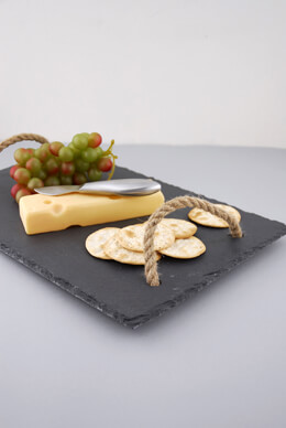 Slate Tray with Rope Handles 10x15in