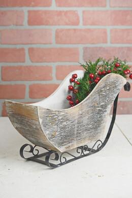 Wood & Metal Santa's Sleigh  14.5in