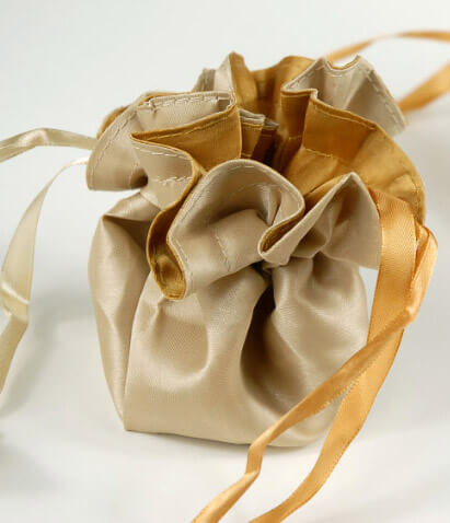12 Satin Favor Bags Reversible Gold