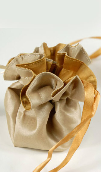 """Satin Favor Bags Reversible Champagne & Gold (12 bags) 4"""""""