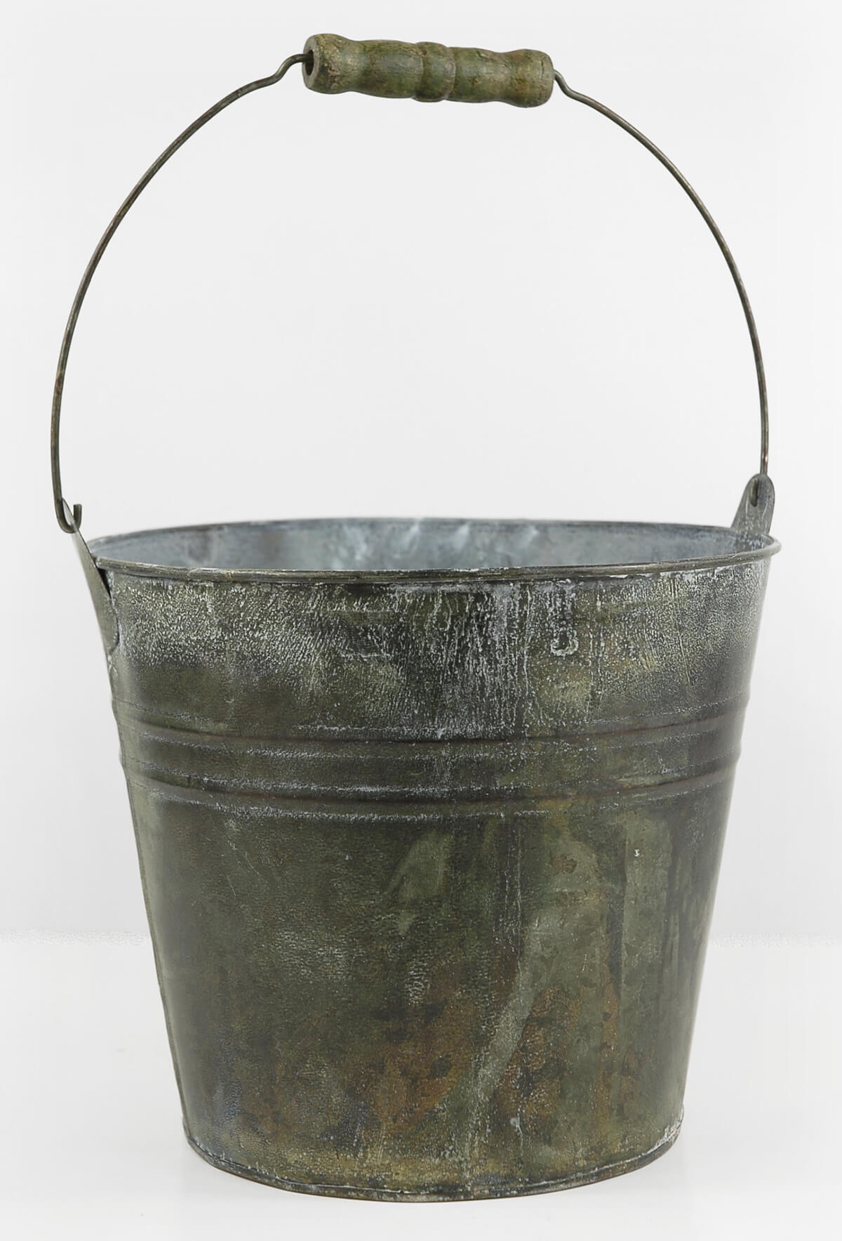 Galvanized flower bucket with wood handle 8in for Rustic galvanized buckets