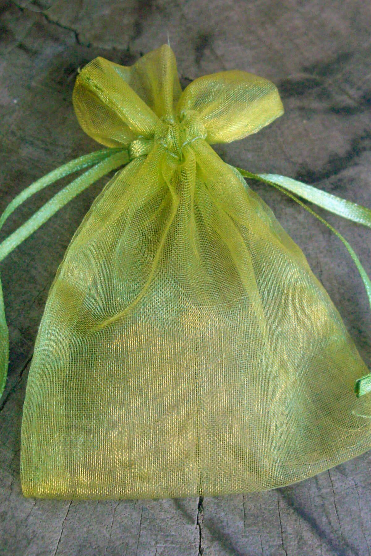 10 Chartreuse Green 3x4 Organza Favor Bags