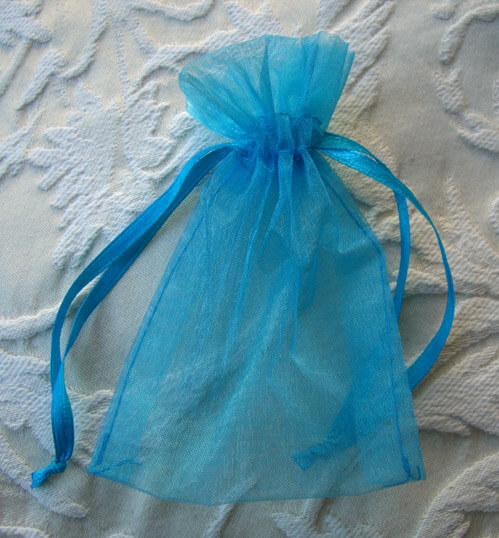 Organza Favor Bags Turquoise 3x4in (Pack of 10)