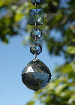 "Smokey Crystal Garlands with 1.5"" Crystal Ball 17-1/2"" Acrylic"