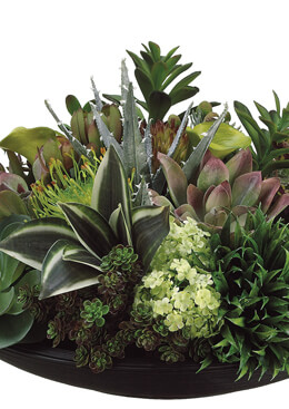 "Large 19"" Wide Silk Greenery Display including Snowball, Echeveria and Lily Arrangement Burgundy and Green, Ships for free"
