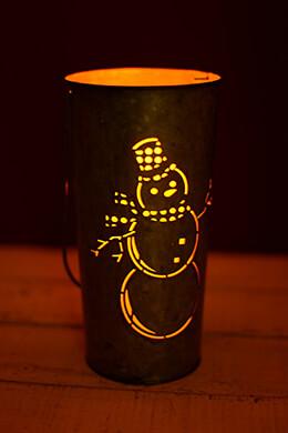 Snowman Lantern 9in