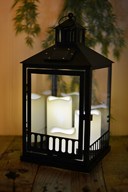 Solar Lantern Black with 3 Candles 16in