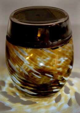 Solar Lanterns Glass Votives Amber Gold 4.5in