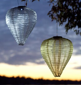 Solar Lanterns LED Hanging Lanterns Soji Silk Effects Teardrop Moss (green)
