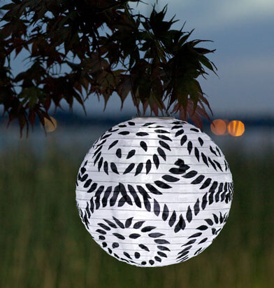 "Solar Lanterns Limited Edition Black & White 12"" Soji"