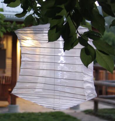 Solar Lanterns Soji Silk Effects Square Pearl White Solar LED Hanging Lanterns