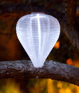 Solar Lanterns Soji Silk Effects Teardrop Pearl White