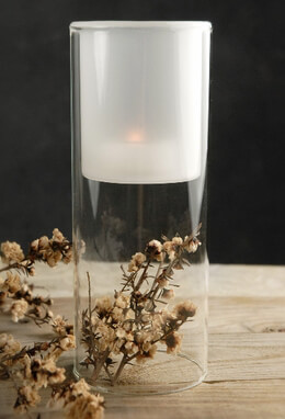 Frosted Glass Candle Holder 7in