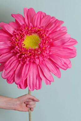 "34"" Silk Jumbo Ruffle Gerbera Daisy Flower Spray -Cerise Pink"