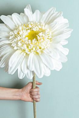 """34"""" Silk Jumbo Ruffle Gerbera Daisy Flower Spray -White"""