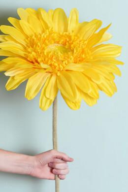"34"" Silk Jumbo Ruffle Gerbera Daisy Flower Spray -Yellow"