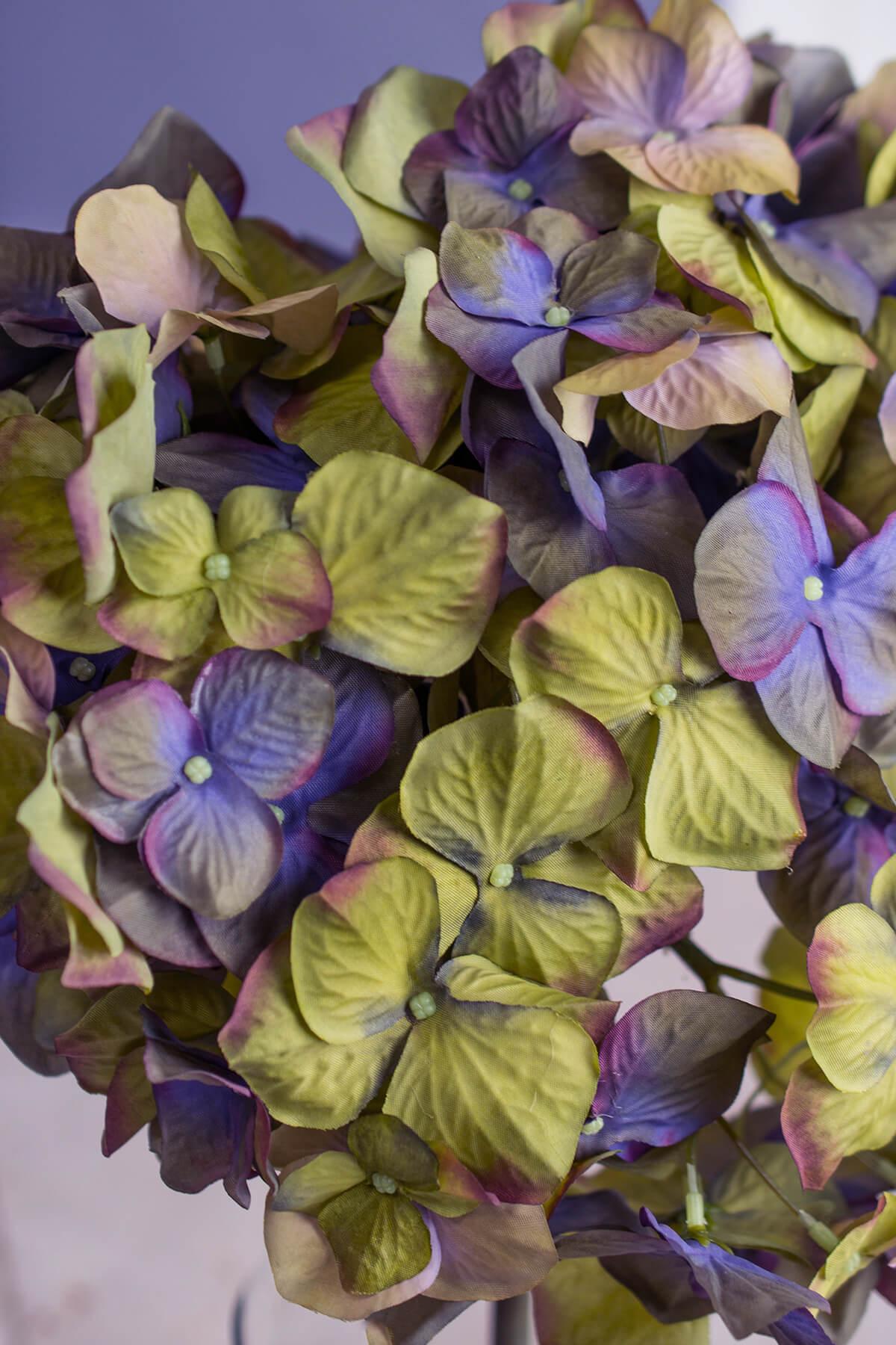Jewel Tone Green & Purple Hydrangea Stem 10in Wide