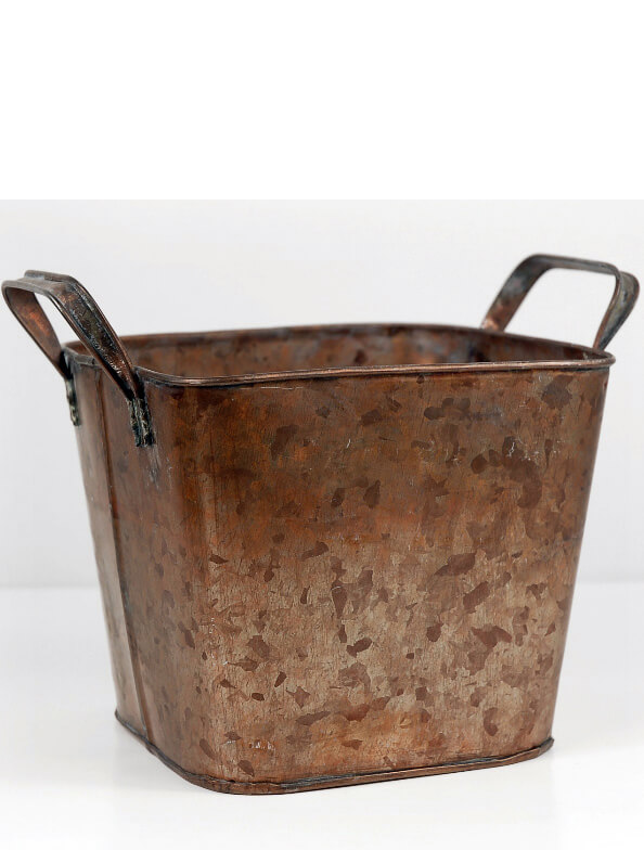 "Square 5.5"" Copper Planter Bucket"
