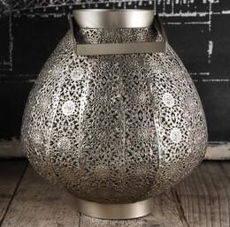 Stamped Metal Lantern w/ Glass Insert 9x8 Silver