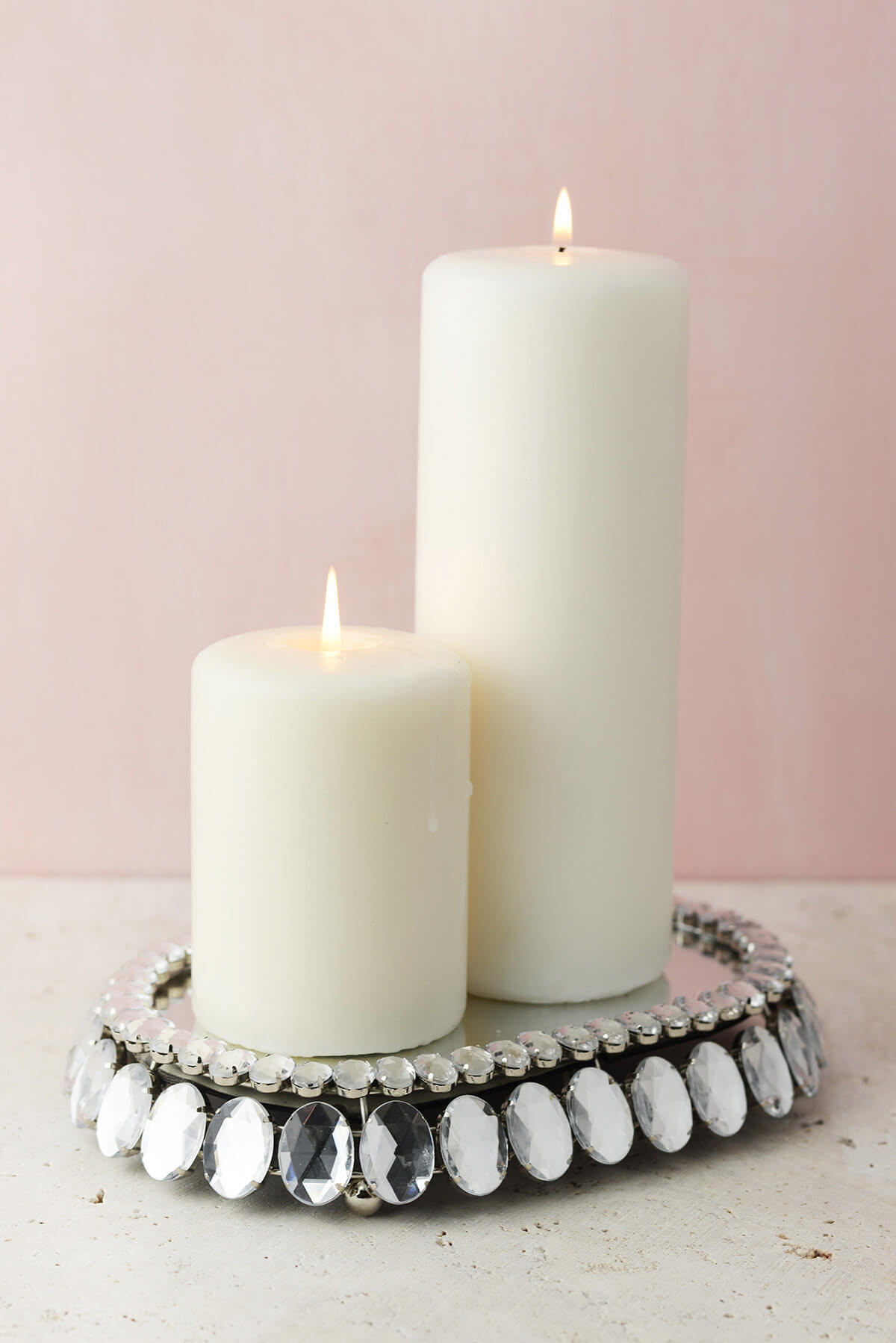 "Diamond Crystal Mirror Pillar Candle Holder 8.5"""