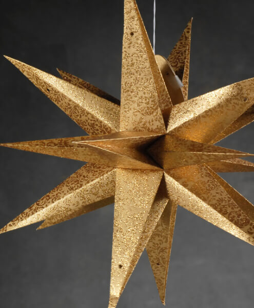 Large 22 gold moravian multi point 3 d star decorations for 3d paper star decoration