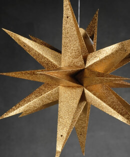 "Multi Point 22"" Gold 3D Star Lantern"