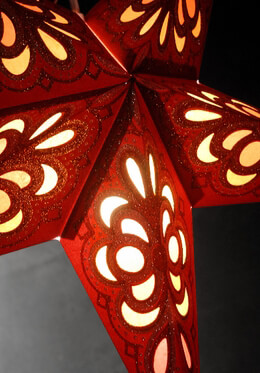 Star Lantern Red & Gold 24in
