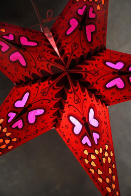 Boho Red & Pink  Butterfly Star Lantern 24in
