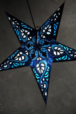 Blue Stained Glass Star Lanterns  24in