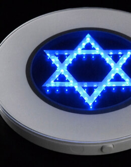 Star of David 10 inch Blue Led Light Base
