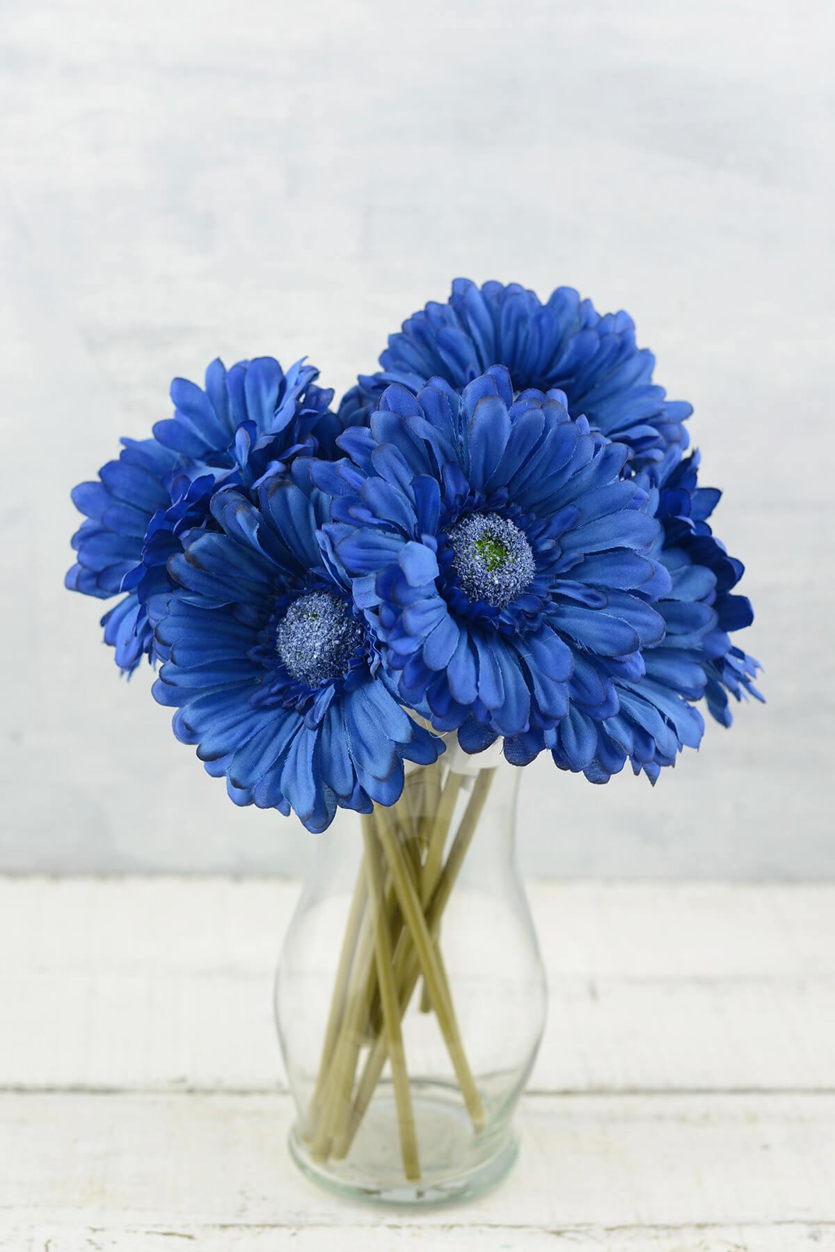 24 Blue Silk Gerbera Daisy Flowers
