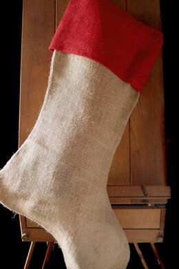 """Large 24"""" Burlap Stocking with Red Cuff"""