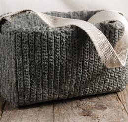 Textured Cement Basket w/Cotton Handle