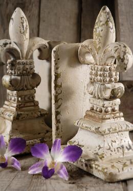 Stone Bookends Fleur de Lis
