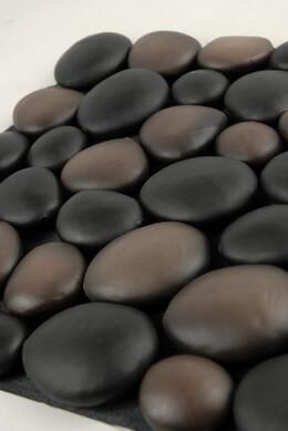 "Stone Mat 12"" x 12"" Nylon Mat Black & Brown Stones (faux stones)"
