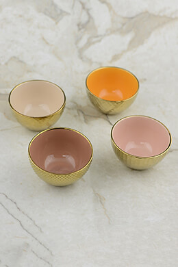 Stoneware Bowls Gold 3.5in (Set of 4)