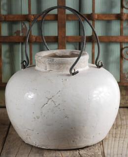 Stoneware Vase w/Metal Handles 7in