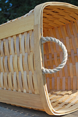 "Large 15"" Chipwood Basket with Rope Handles"