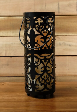 Ornate Lantern with Candle Battery Operated 10in