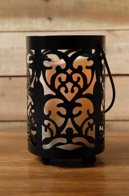 Ornate Lantern with Candle Battery Operated 6in