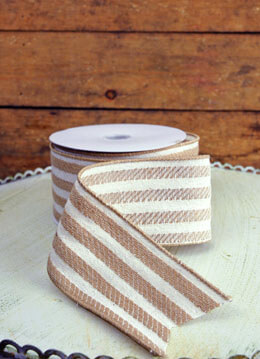 Burlap & White Striped Ribbon 2.5in x 24ft